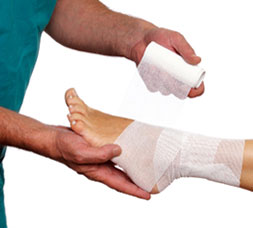 Doctor Wrapping a Foot and Ankle